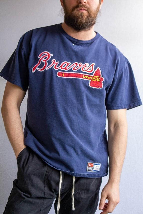 Vintage Blue Braves Baseball Jersey - XL  vintage