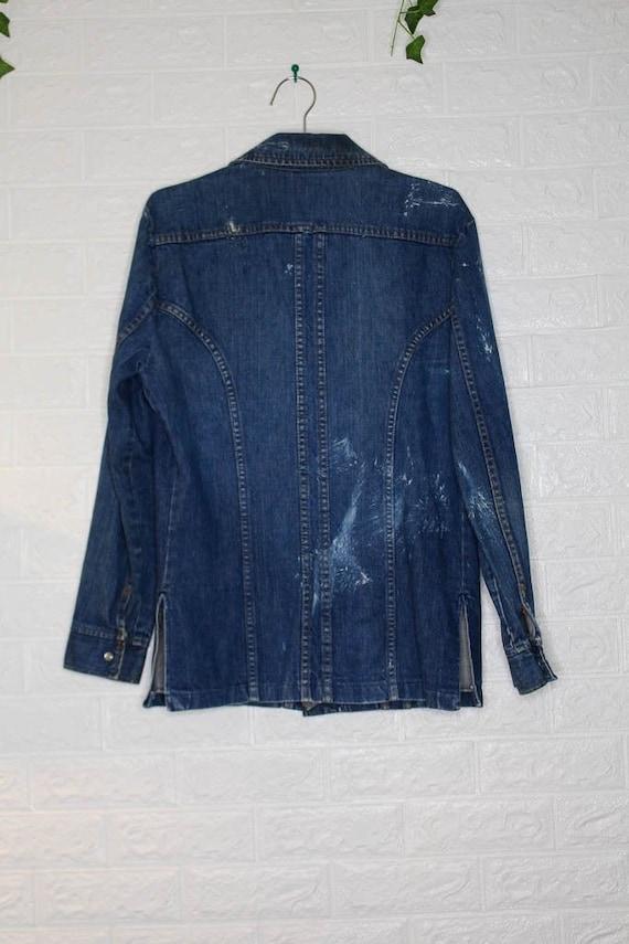 Vintage Western x Denim x Jean Shirt  vintage clo… - image 5