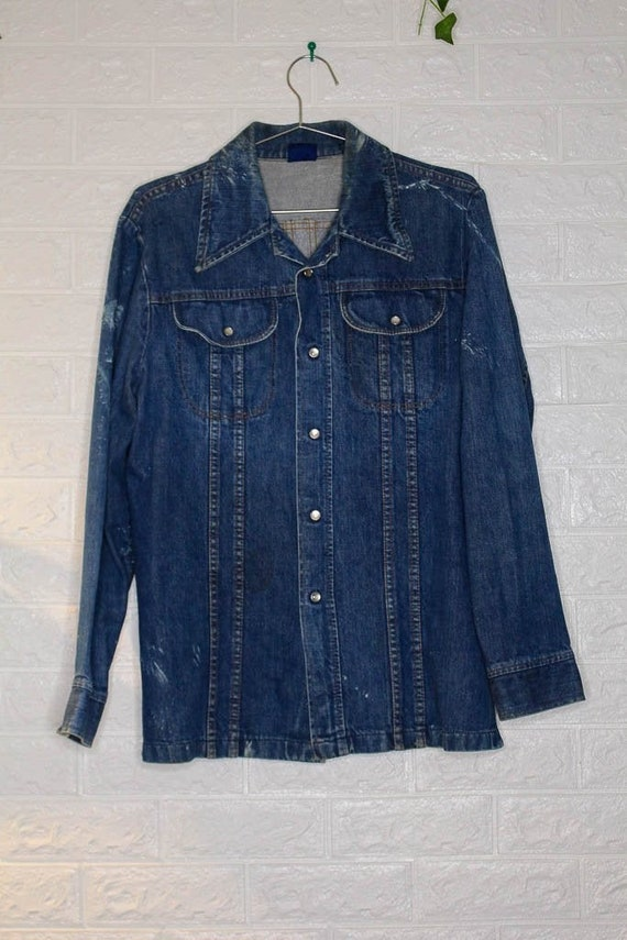 Vintage Western x Denim x Jean Shirt  vintage clo… - image 3