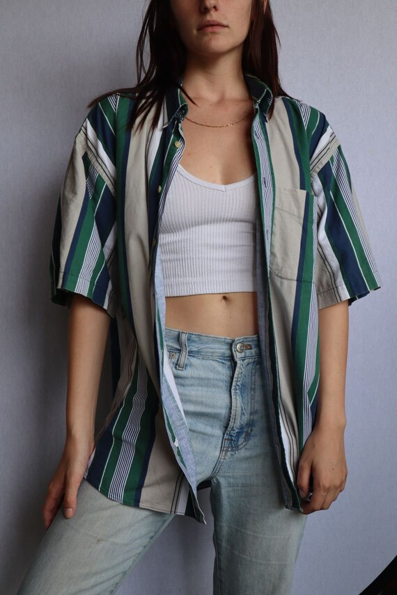 Vintage Striped Button Down Shirt  vintage clothin