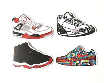 a2a20faa43d6ef 4 x Nike Air Jordan Sneakers Basketball Trainers Vinyl Stickers