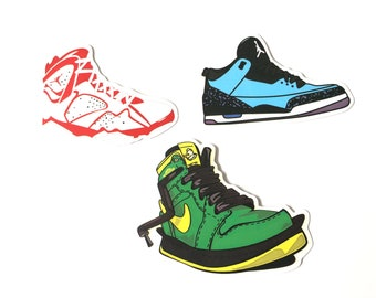 6fb3ab34cc7409 3 x Nike Air Jordan Sneakers Basketball Trainers Vinyl Stickers