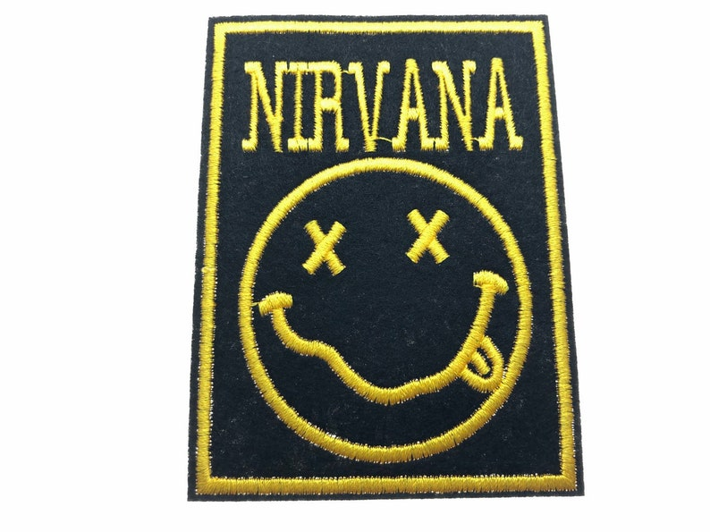 NIRVANA yellow on black EMBROIDERED IRON-ON PATCH **FREE SHIPPING**