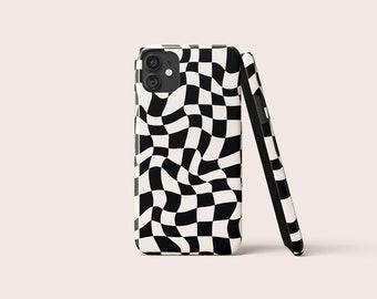 WAVY CHECK Black Phone Case | iPhone Case | Samsung Case | Google Pixel | Black White Case | Two Colour | Geometric | Check Swirl Pattern