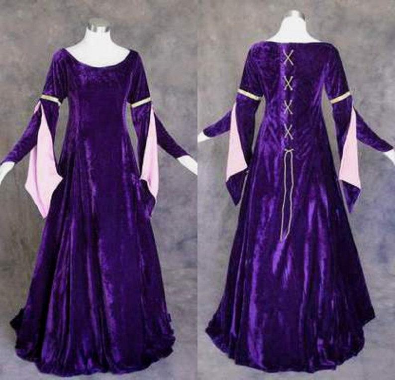 Velvet Medieval Dress Renaissance Costume Gown Queen Larp Women Cosplay Celtic Halloween Size Sleeve Long Green Wench Regular Plus Size Lace