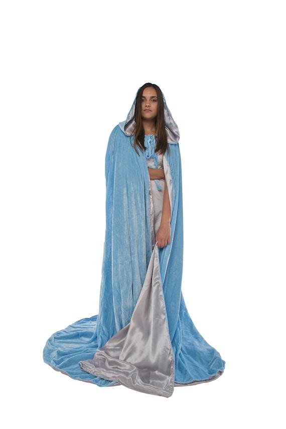 Short 50, Blue-Silver Artemisia Designs Cloak Hood Renaissance Medieval Adult Cape Lined with Satin Men and Women