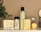 Bath & Body Gift Box - Lemon Meringue Handmade Soap Gift Set All Natural Soaps, Lotion, Lip Balm, BathBombs and Bath Salts