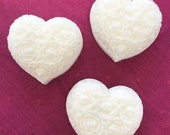 50 FAVORS, Heart Shaped Soap Favors, Set of 25 Handmade All Natural Soaps