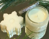Happy Holiday Gift Set - Christmas Cookie Soy Wax Candle & Snowflake Hand Soap in Beautiful Embossed Glass Jar