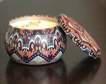 Mango Papaya Soy Wax Candle - Hand Poured in Collectible Metal Jar