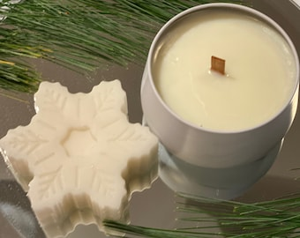 Happy Holiday Gift Set - Christmas Cookie Soy Wax Candle & Snowflake Hand Soap in Collectible Metal Tin