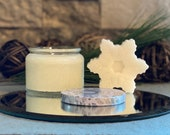 Happy Holiday Gift Set - Winter Wonderland Soy Wax Candle & Snowflake Hand Soap in Beautiful Embossed Glass Jar