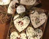 GIFT SET 4 Heart Soaps - Handmade Hand Soaps, All Natural Skin Care,  Shea Butter Soaps (7 ounces total weight)