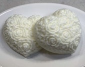 10 FAVORS Heart Shaped Soap Favors, Set of 10 Handmade All Natural Soaps