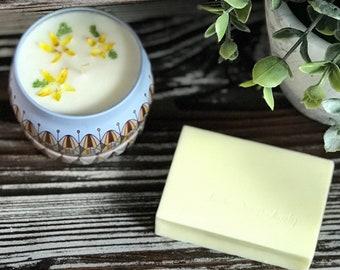 Pick Me Up Gift Set - Lemon Bar Soy Wax Candle & Hand Soap, Bridesmaid Gift Set, Friendship Gift Set, Hostess Gift Set