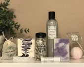 Bath & Body Spa Set - Vanilla Lavender Soap Gift Box  Handmade Soaps, Lotion, Lip Balm, Bath Bomb and Bath Salts, All Natural