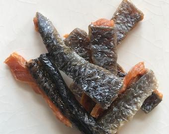 100% Wild Salmon-Skin Jerky.  Healthy Dog & Cat Treats!