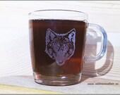 Wolf glass mug