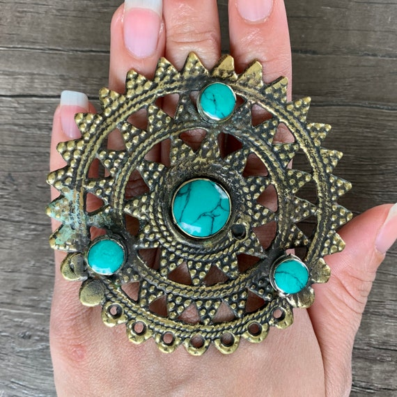 Bohemian Ethnic Adjustable Afghan Ring Afghan Jewelry Round Turquoise Ring Turquoise Jewelry Massive Vintage Ring