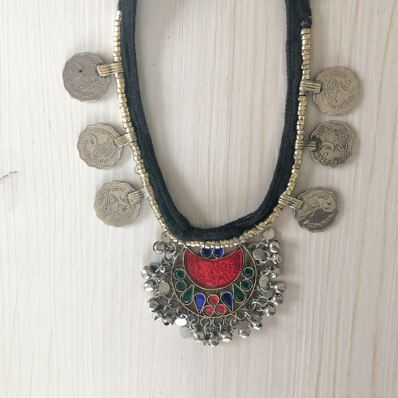 Multicoloured Kuchi Pendant Necklace with Silver Coins Vintage Tribal Necklace Unique Handmade Pendant Afghan Necklace Statement Jewelry