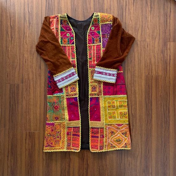 Vintage Afghan Coat, Long Boho Coat, Banjara Jacke