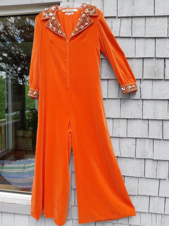 Vintage Orange Velvet Jumpsuit 1970s Groovy
