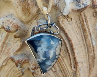 Plume Agate Pendant With Bail PAPB1