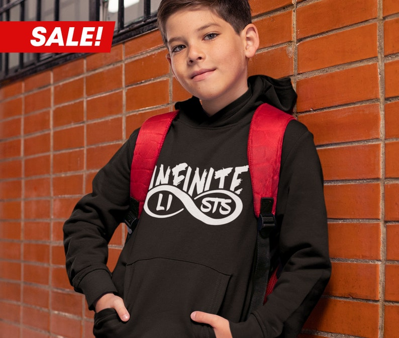 779f1a6eede Kids Infinite Lists White Logo Hoodie Infinite Lists Merch