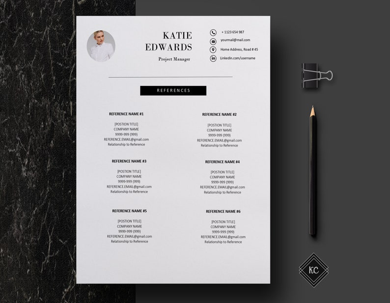 Creative Resume Templates Word One Page Resume Template with Photo Free Cover Letter Professional Resume Instant Download