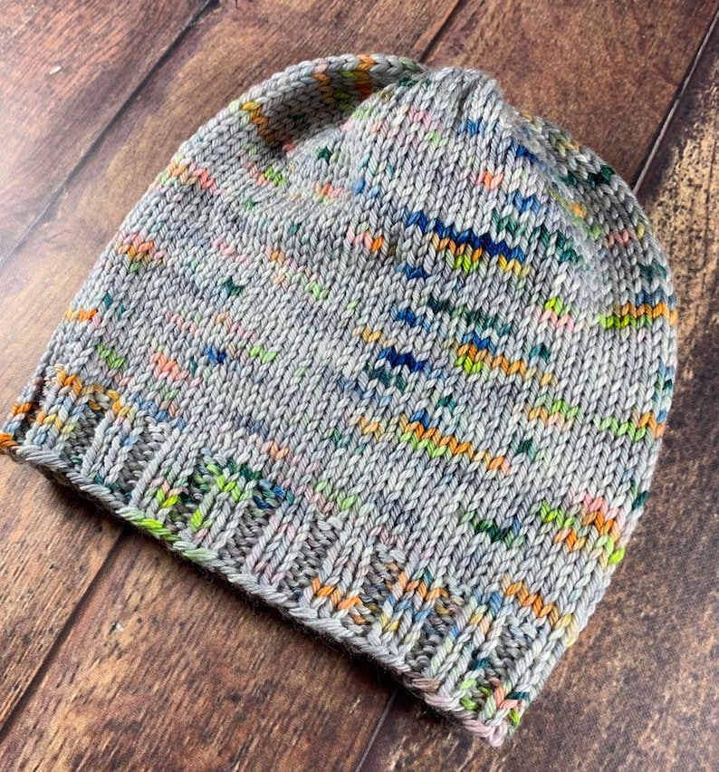 Hand Knit Toddler Hat Gray with Neon Speckles 100/% Merino Wool Medium-weight.