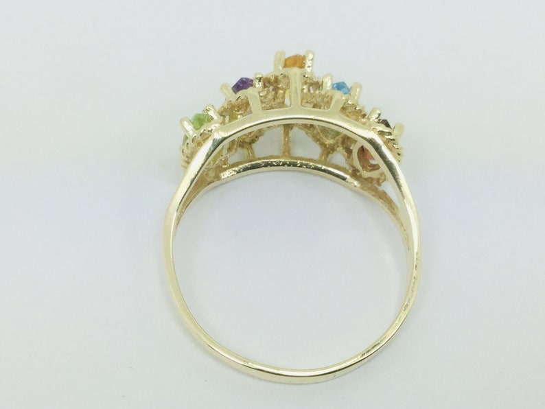 10k Yellow Gold Marquise Cut 5 Stone Family Ring