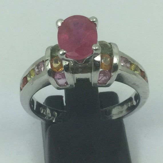 Beautiful Silver Ruby & Topaz Ring - image 1