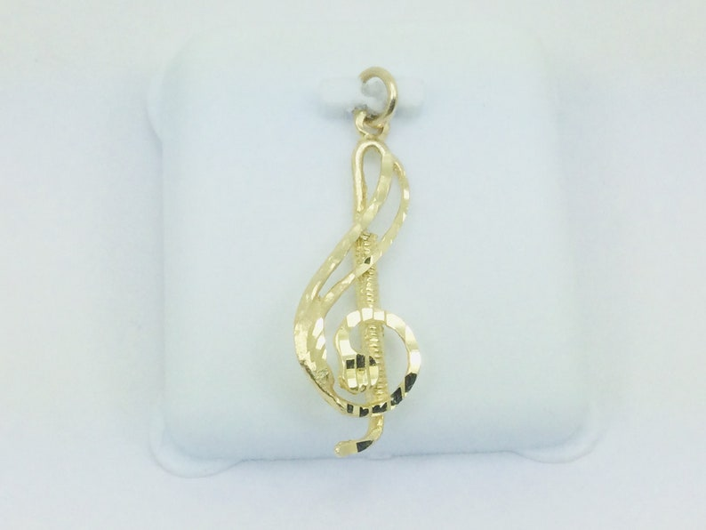 10k Yellow Gold Treble Clef Music Pendent