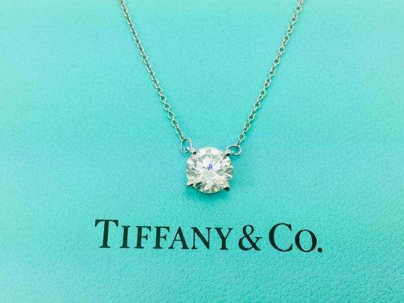 Tiffany Co Platinum 1 19ct Diamond Solitaire Pendant Etsy