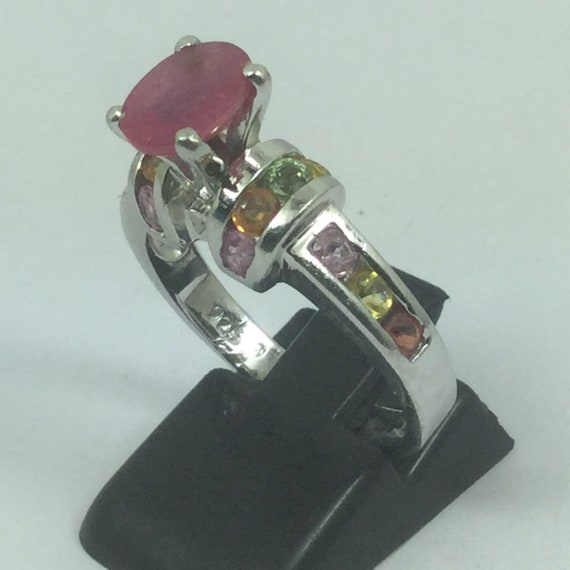 Beautiful Silver Ruby & Topaz Ring - image 2
