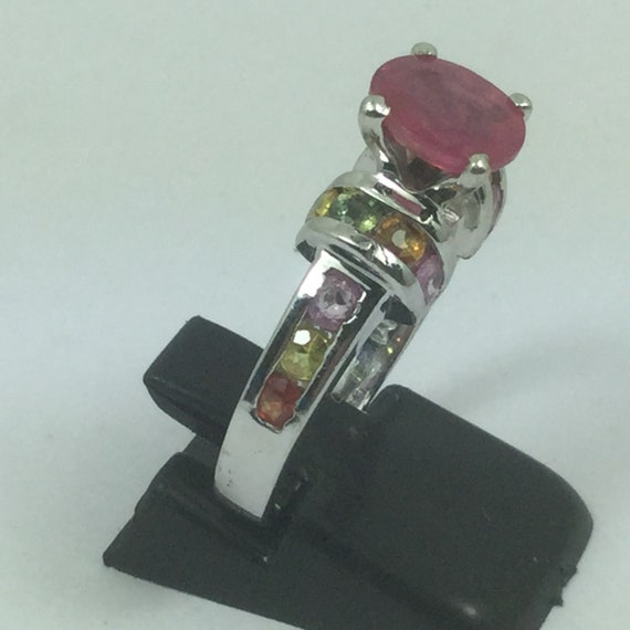 Beautiful Silver Ruby & Topaz Ring - image 3