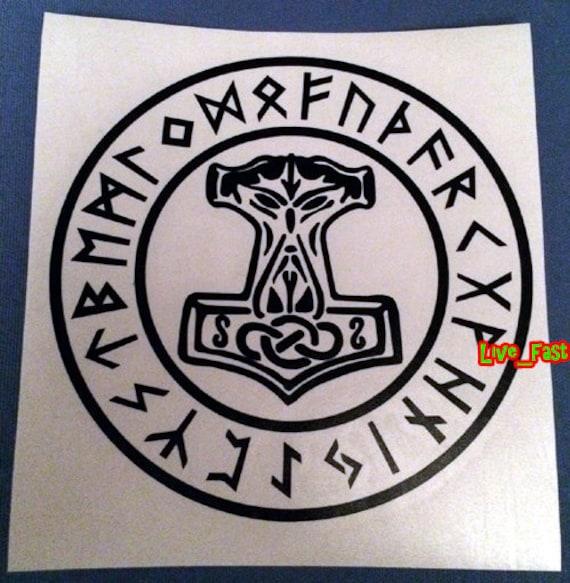 THORS HAMMER MOLJINOR /& RUNES IRON ON PATCH asatru viking odin norse mythology