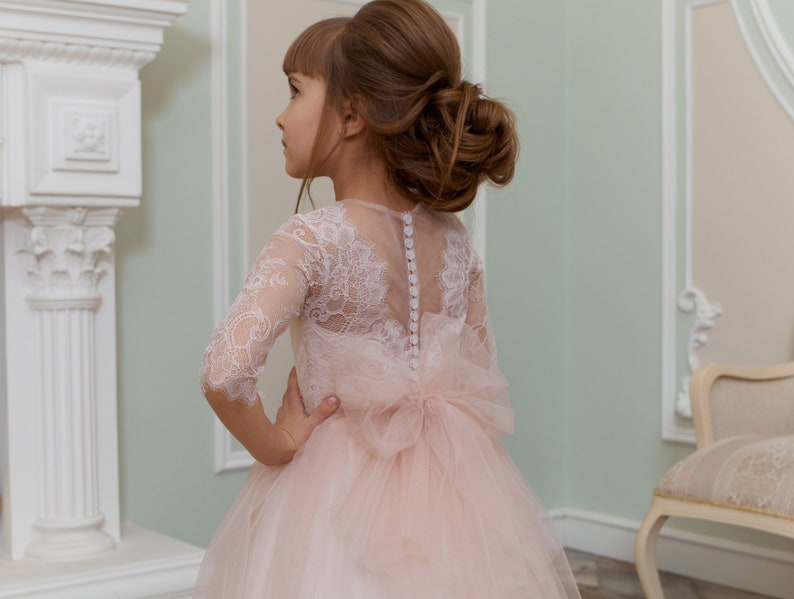 436c80668 Blush Flower girl dress Rose junior bridesmaid dress Baby | Etsy