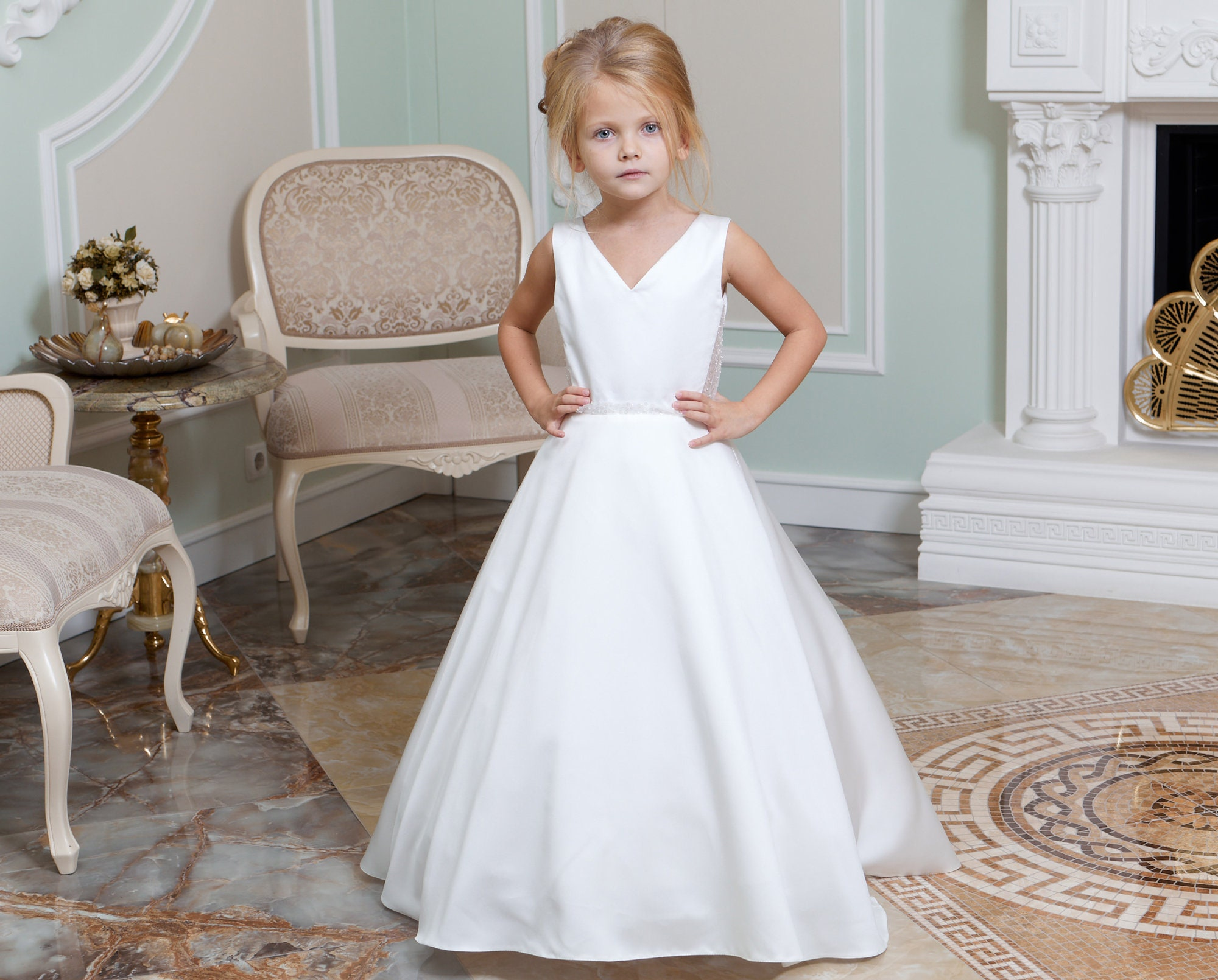 Miama Champagne Lace Tulle Wedding Flower Girl Dress Junior Bridesmaid Dress