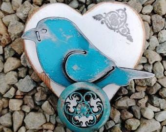 Bird Wall Decor, Decorative Bird Block Decor, Cute Bird Wall Art, Metal Bird Art, Recycled Metal Art