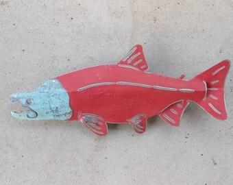 Spawning Metal Salmon - Salmon Metal Art -  Metal Fence Decor - Metal Wall Art - Salmon Decor - Recycled Metal Art - Upcycled Art