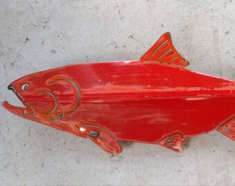 Salmon Metal Art - Metal Fence Decor - Metal Wall Art - Car Salmon - Salmon Decor - Recycled Metal Art