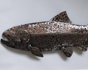 Salmon Metal Art - Metal Fence Decor - Metal Wall Sculpture - Salmon Decor - Recycled Metal Art - Upcycled Art