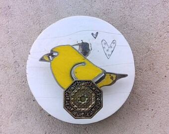 Yellow Bird Wall Decor, Decorative Bird Block, Cute Bird Wall Art, Metal Bird Art, Recycled Metal Art