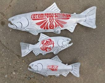 Smoker salmon Set of 3 - Aluminum Salmon Decor - Indoor/Outdoor Metal Art - Upcycled Metal Art