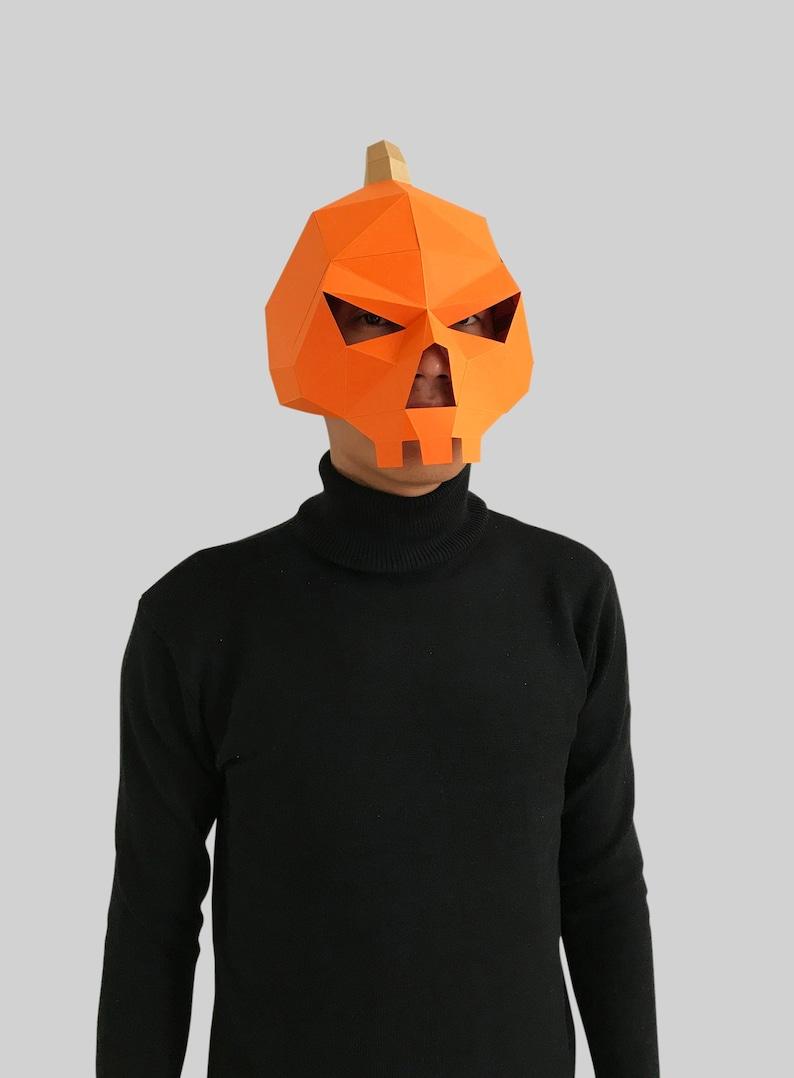 Pumpkin Skull Mask DIY 3D mask,PDF,Polygon Paper Mask,Template,Printable,Animal,Pattern mask,Low Poly,Papercraft Mask,Costume,Halloween