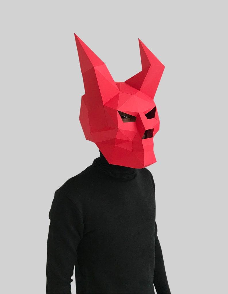 DIY 3D mask,PDF,Polygon Paper Mask,Template,Printable,Animal,Pattern mask,Low Poly,Papercraft Mask,Costume,Halloween Devil Skull Mask