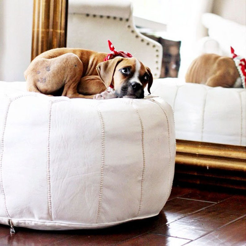 Natural Ivory Color Poufs Footstool Genuine Leather Ottoman pouffe Unstuffed Moroccan pouf Handmade Pouf leather
