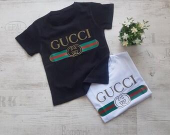 146536b64f6 kids Gucci shirt inspired belt cotton t shirt girl boy tee unisex vintage  gang designer shirt White and black
