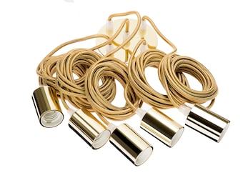 Hoopzi /• Bala /• Fil /électrique en Tissu de 4,5 m/ètres /• 36 Coloris /• Douille E27 avec Interrupteur /• Pour Suspension Luminaire ou Lampe Cr/éative /• Jaune